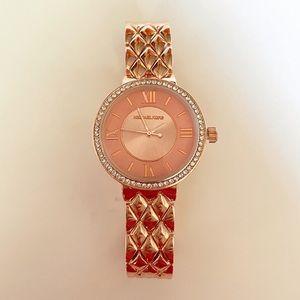 New Michael Kors rose gold quilt watch diamond